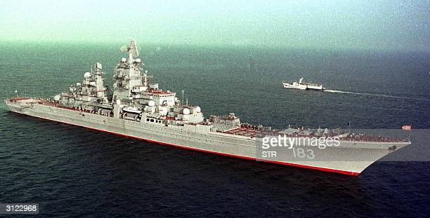 This file picture taken 18 August 2000 shows the Russian Navy's heavy ACruiser 'Pyotr Veliky' at sea The head of Russia's fleet said 23 March 2004...