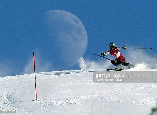 This file picture taken by Swedish photographer Sven Nackstrand dated 29 February 2004 shows Tanja Poutiainen of Finland making her second race while...