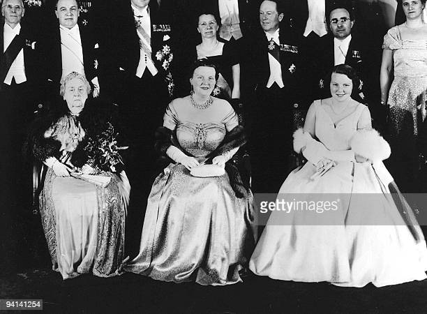 This file picture taken in 1956 shows Princess Wilhelmina Queen Juliana and Princess Beatrix Princess Juliana the mother of Queen Beatrix and a...