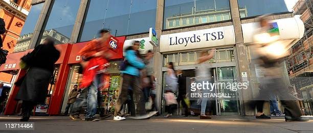 This file picture taken on April 11, 2011 shows a branch of Lloyds Banking Group in central London. Britain's state-rescued Lloyds Banking Group on...
