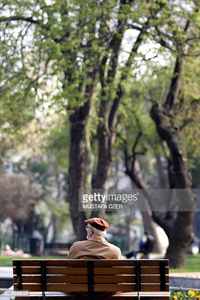 This file picture taken on April 3 in Istanbul shows an elderly Turkish man sitting on a bench during a sunny day in Bebek Park. The last time Derek...