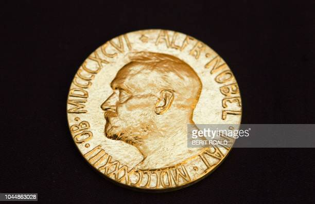 This file picture taken on December 10, 2010 shows the front of the Nobel medal awarded to the Nobel Peace Prize laureate for 2010, jailed Chinese...