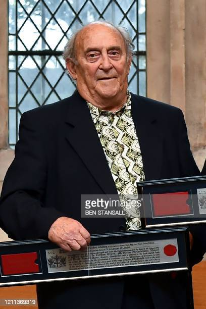 This file picture taken on January 27 2016 shows South African social campaigner Denis Goldberg posing with an award of the Freedom of the City of...