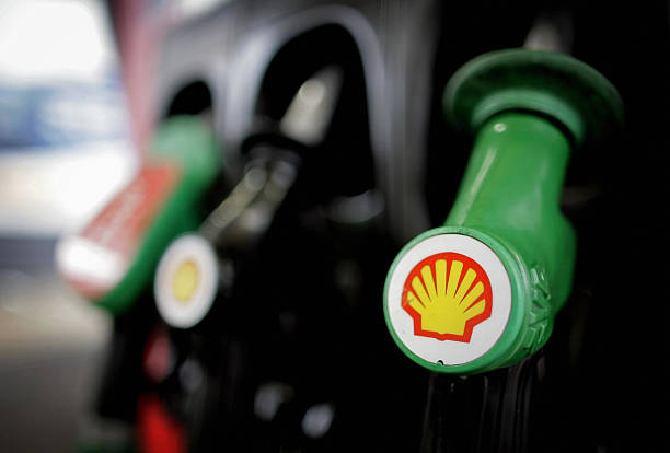 This file picture taken on January 31, 2008 in London shows petrol pumps at a Shell garage.