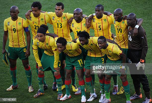 This file picture taken on June 14 2010 at Free State stadium in Mangaung/Bloemfontein shows Cameroonian team players Cameroon's striker Samuel Eto'o...