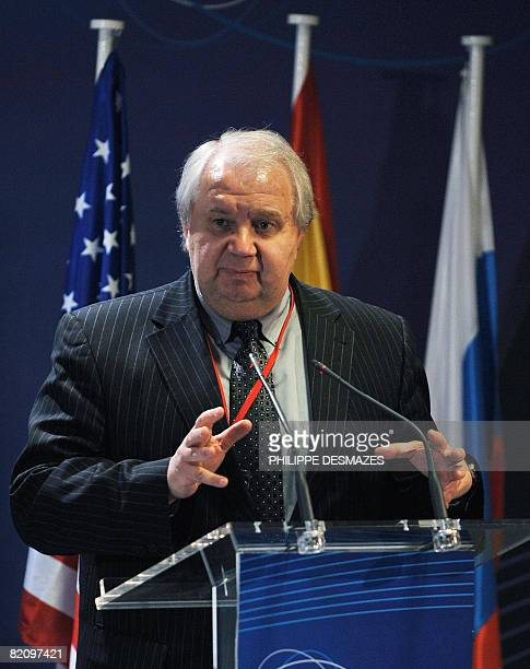 This file picture taken on June 17 2008 shows Russian diplomat Sergey Kislyak speaking at a press conference in Madrid Russian President Dmitry...