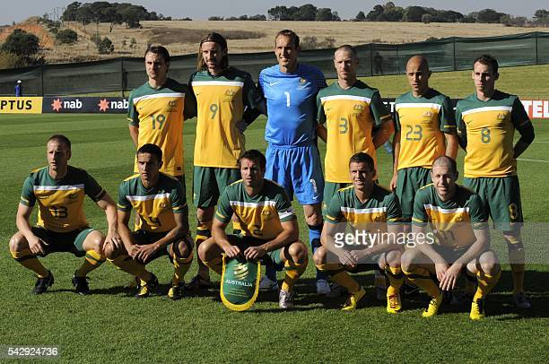 This file picture taken on June 5 2010 at the Ruimsig Stadium in Johannesburg shows Australian national football team players Australia's striker...