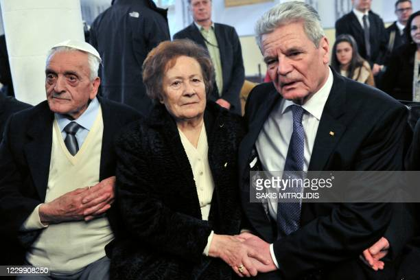 This file picture taken on March 7, 2014 shows ?sther Cohen during a visit to Ioannina by Germany's then president Joachim Gauck . - ?sther Cohen,...