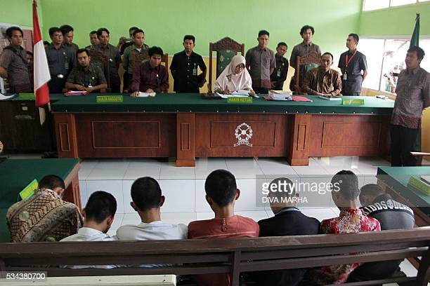 This file picture taken on May 10 2016 shows an Indonesian judge reading the sentence to seven teenage suspects during their trial in Curup Bengkulu...