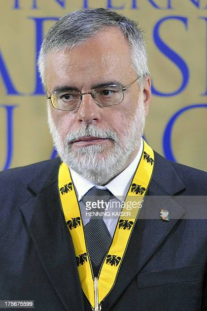 This file picture taken on May 21 2009 in Aachen western Germany shows the Sant'Egidio religious community's founder Andrea Riccardi being awarded...