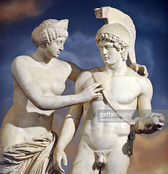 This file picture taken on November 18 2010 at Palazzo Chigi Italy's Prime Ministry in Rome shows a Roman statue of Venus and Mars displayed in Prime...