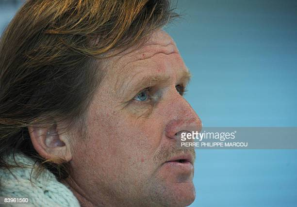 This file picture taken on November 21 2008 shows Real Madrid's German head coach Bernd Schuster speaking during a press conference in Madrid Spanish...