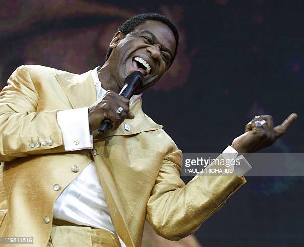 This file picture taken on October 21, 2001 shows musician Al Green singing during a concert in RFK Stadium in Washington. As the legendary Motown...