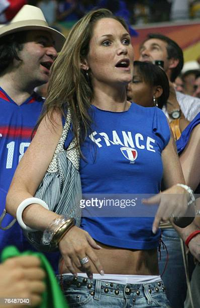 This file pictured dated 01 July 2006 shows the wife of Thierry Henry, Claire Merry, aka Nicole Merry, during the quarter-final World Cup football...