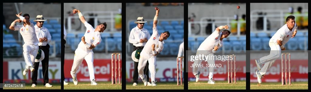 This five-picture combination shows Pakistan's bowler Yasir Shah delivering a ball on day four of the first Test match between West Indies and Pakistan at the Sabina Park in Kingston, Jamaica, on April 24, 2017. Shah bagged four wickets at the end of the day's play, as West Indies trail by 28 runs with 6 wickets remaining. / AFP PHOTO / Jewel SAMAD