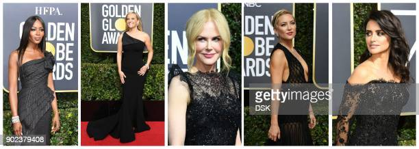 model Naomi Campbell actresses Reese Witherspoon Nicole Kidman Kate Hudson and Penelope Cruz dressed in black as they arrive for the 75th Golden...