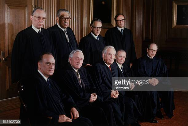 This formal portrait of the US Supreme Court Justices was made as the membership changed Justices Powell and Rehnquist both took their seats on...