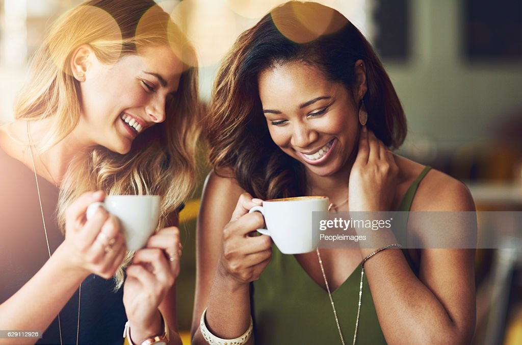 This friendship runs on coffee, love and laughter : Foto de stock