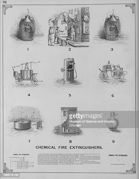 This full page spread shows 9 different fire extinguishers The image originally appeared in 'The Growth of Industrial Art'
