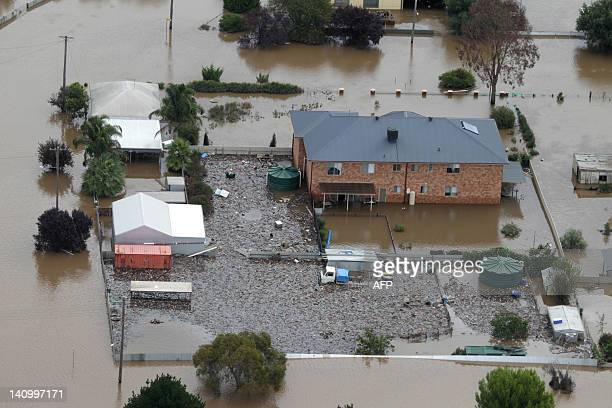 This general aerial view shows flooding in North Wagga Wagga during a helicopter tour by Australian Prime Minister Julia Gillard as she reviews the...