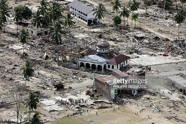 This general aerial view shows the devastation around the local mosque in the village of Teunom on the west coast of the Aceh 06 January 2005 A UN...