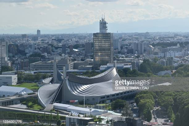 This general aerial view shows Yoyogi National Stadium, the venue for the handball, badminton and wheelchair rugby events at the Tokyo 2020 Olympic...