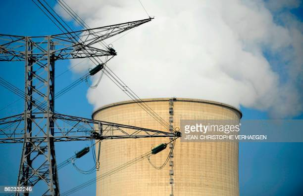 This general view shows a chimmney of the nuclear power plant at Cattenom in eastern France on October 17 2017 VERHAEGEN