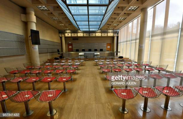 This general view shows a courtroom in Nanterre on March 15 where the two older children of iconic French musician Johnny Hallyday are scheduled to...