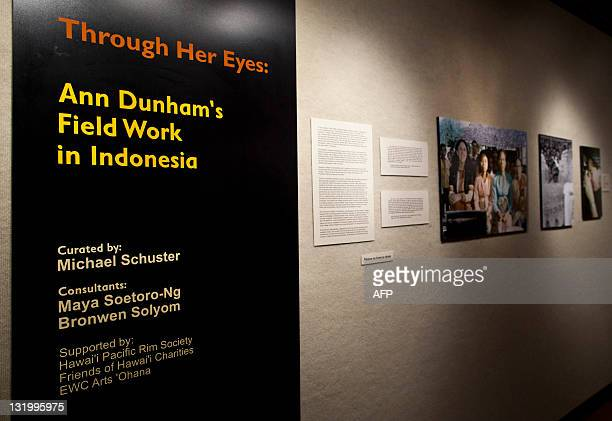 This general view shows an exhibition of photographs taken during fieldwork in Indonesia by S Ann Dunham US President Barack Obama's late mother at a...