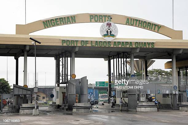 This general view shows Apapa port where containers loaded with arms were found and impounded in Lagos on October 27 2010 Nigerian authorities...