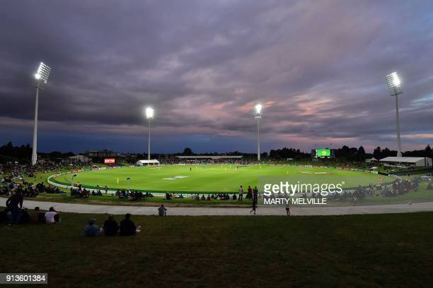 This general view shows Bay Oval during the U19 cricket World Cup final match between India and Australia in Mount Maunganui on February 3 2018 / AFP...