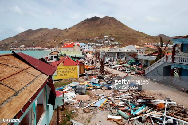 This general view shows buildings destroyed by Hurricane Irma on the French Caribbean island of Saint Martin on September 12 during the visit of...