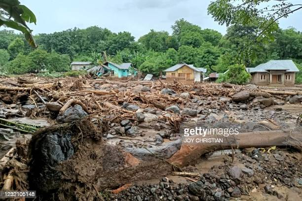 This general view shows debris left behind in the town of Adonara in East Flores on April 4 after flash floods and landslides swept eastern Indonesia...