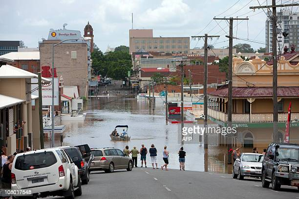 This general view shows flooding on Brisbane Street in the Ipswich city centre some 40 kms southwest of the Queensland city of Brisbane on January 12...