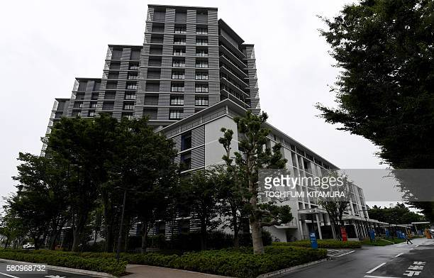This general view shows Kitazato University hospital after 13 injured people were brought from the Tsukui Yamayuri En care centre where a...