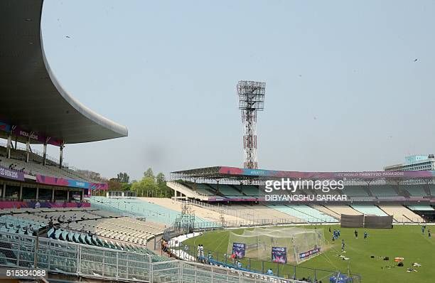 This general view shows Pakistan's cricketers as they take part in a training session ahead of the World T20 cricket tournament match at The Eden...