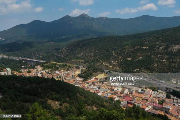 This general view shows Perthus a small town on the FrenchSpanish border on July 20 2018 The regional chamber of accounts for Occitanie has issued a...