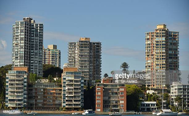 This general view shows residential property along the harbourfront in Sydney on September 17 2015 Australian real estate prices particularly in...