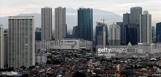 This general view shows skyscrapers in the downtown area of Jakarta on June 18 2016 Indonesia's central bank on June 16 cut its key interest rate for...