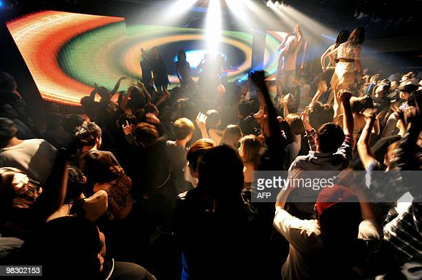This general view shows Taiwanese dancing at a club during a 'ladies night' promotion in the ChungLi area of Taoyuan county north of Taipei in...