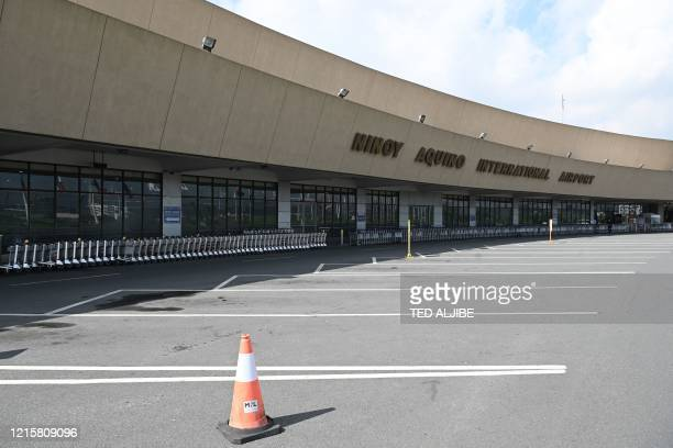This general view shows terminal one without any passengers or traffic from lack of flights due to the COVID-19 coronavirus at the international...
