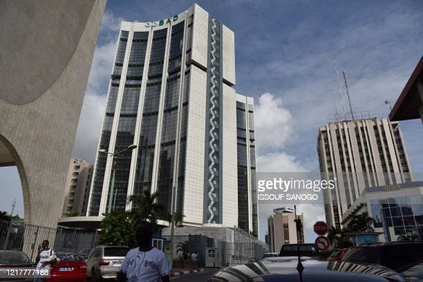 This general view shows the Africa Development Bank headquarter in the plateau business district of Abidjan on June 5,2020