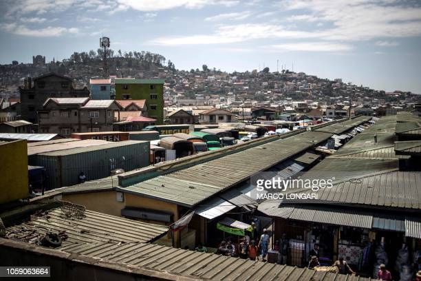 This general view shows the Anosibe central market in Antananarivo, on November 8, 2018.