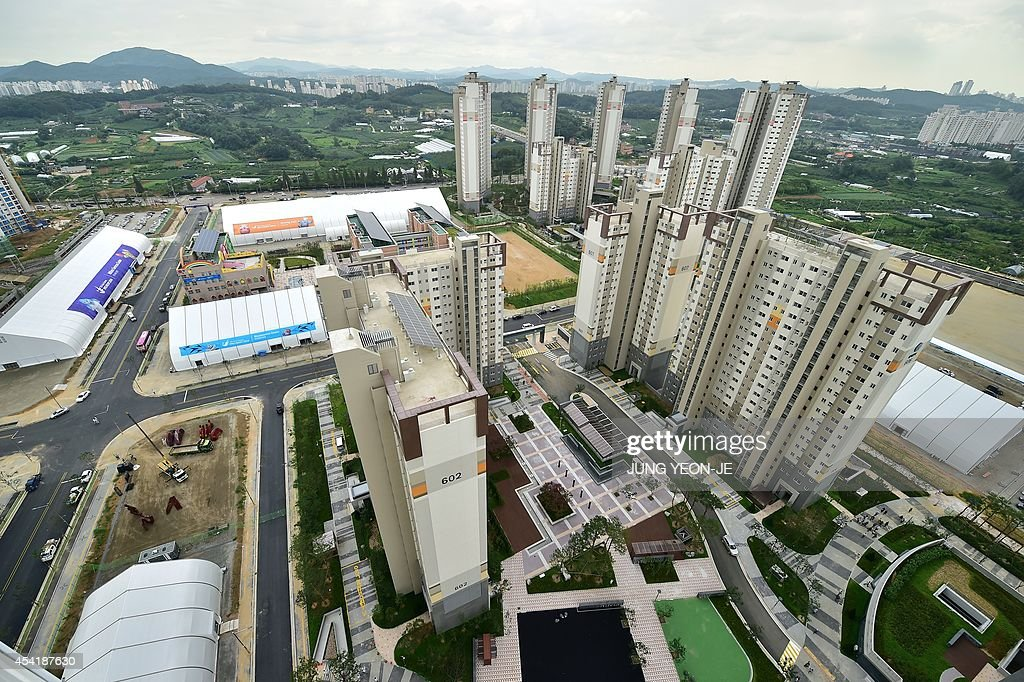This general view shows the Athletes' Village for the upcoming 2014 Asian Games during a media tour in Incheon on August 26, 2014. The 2014 Asian Games will take place between September 19 and October 4, with Asia's top athletes competing across 36 sports.