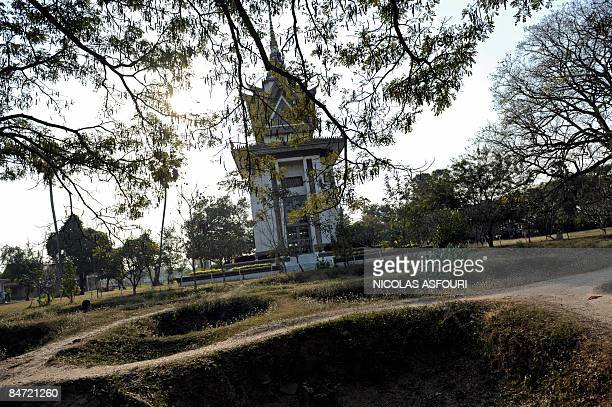 """This general view shows the Choeung Ek memorial stupa south of Phnom Penh on February 10, 2009 marking the """"killing fields"""" where the ruling Khmer..."""