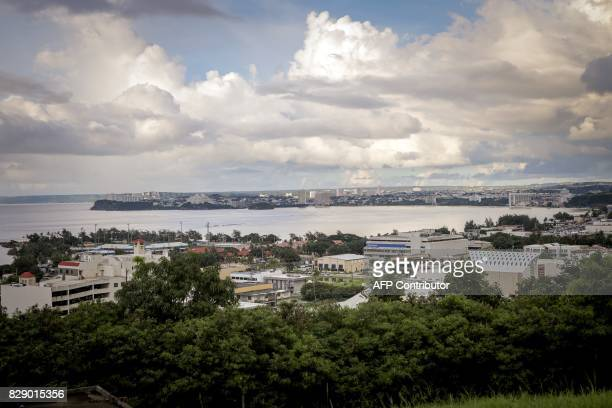 This general view shows the city of Tamuning on the island of Guam on August 10 2017 Guam's governor on August 10 said the US territory was...