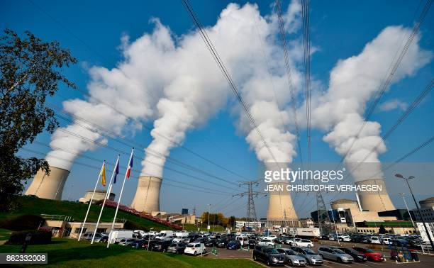 TOPSHOT This general view shows the chimmneys of the nuclear power plant at Cattenom in eastern France on October 17 2017 VERHAEGEN
