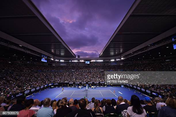 This general view shows the crowd watching as Serena Williams of the US plays against Angelique Kerber of Germany in their women's singles final...