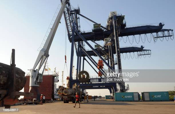 This general view shows the docks at the Myanmar International Terminals at the huge Thilawa industrial zone project near Yangon on January 4, 2013....