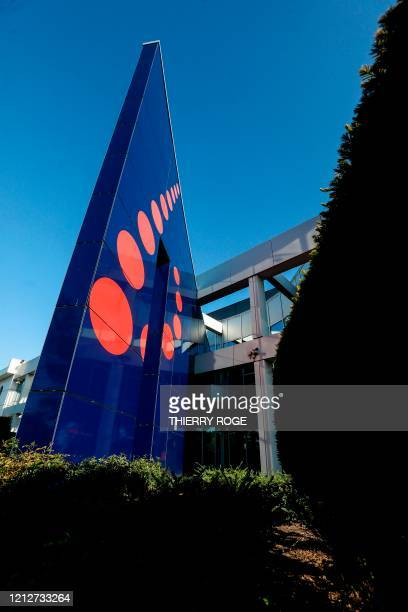 This general view shows the entrance to the headquarters of Brussels Airlines in Zaventem on the outskirts of Brussels on May 12 during an...